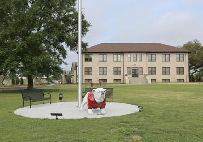 Front of UGA Tifton campus shows 'Tuga' statue and Tift Building in background.
