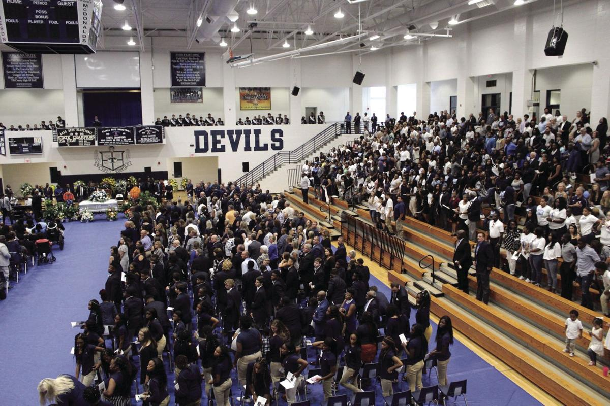 A huge crowd of people packed the gymnasium to celebrate the life of Coach Anthony Bateman.