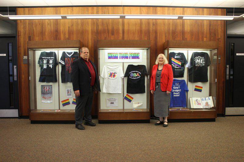 Pride exhibit displays t-shirts, posters