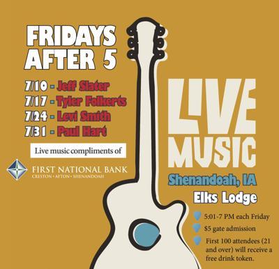 """""""Fridays After Five"""" kicks off July 10 at Shen Elks Lodge"""