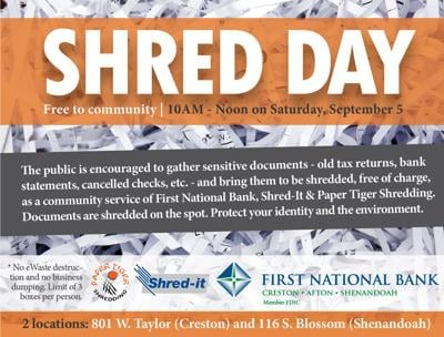 First National Bank holds community Shred Day Sept. 5