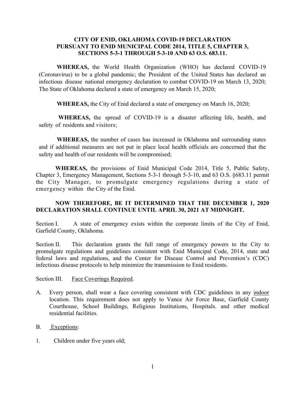 Enid's extended mask mandate declaration