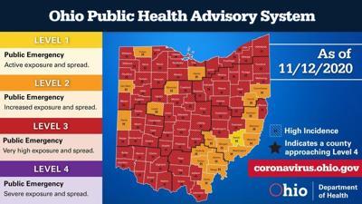 Ohio Public Health Advisory System map