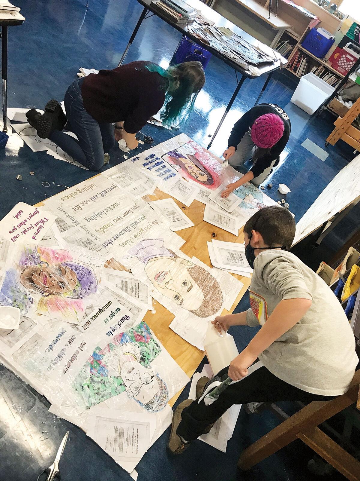 Protest art class' mural 2