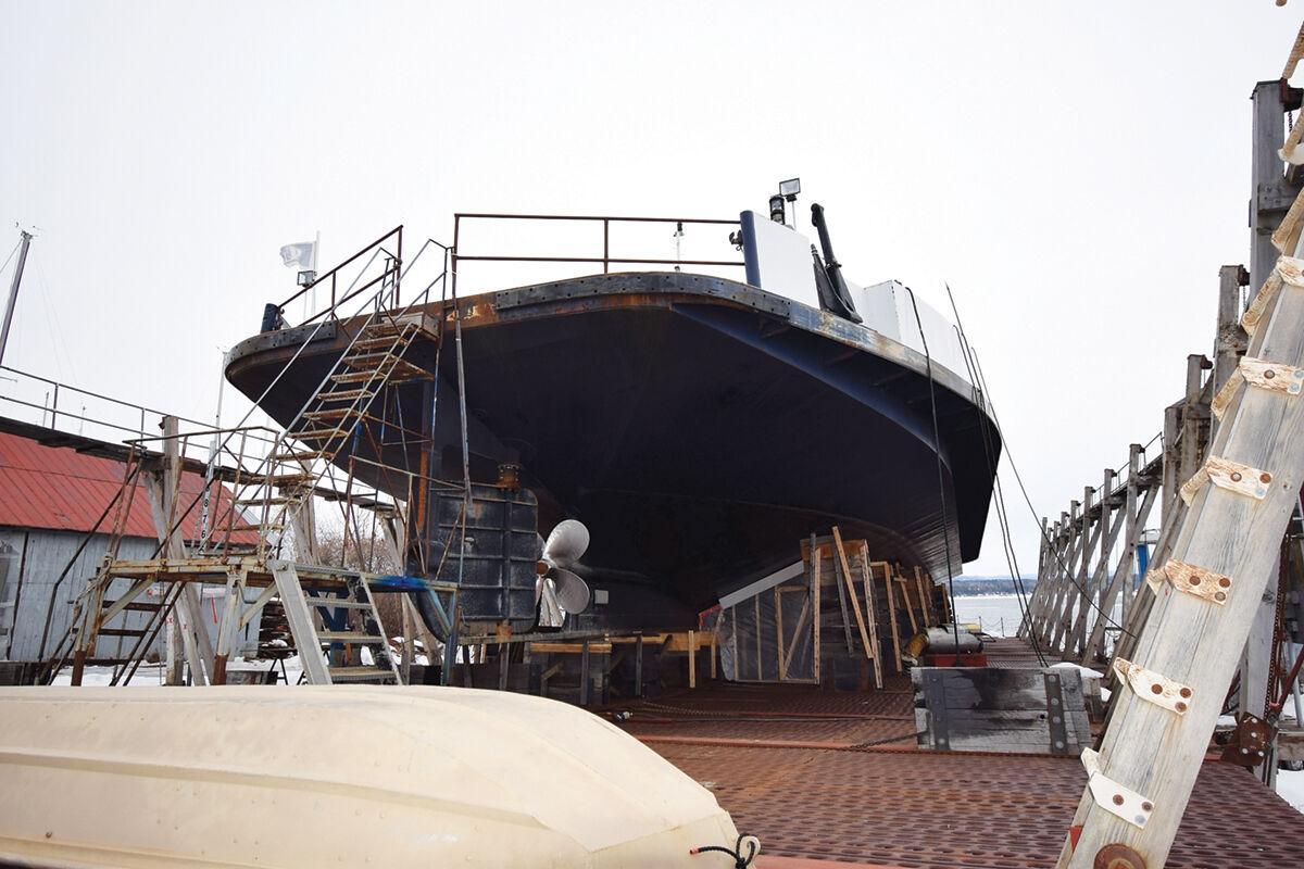 Lake Champlain Transportation Company ferry in dry dock