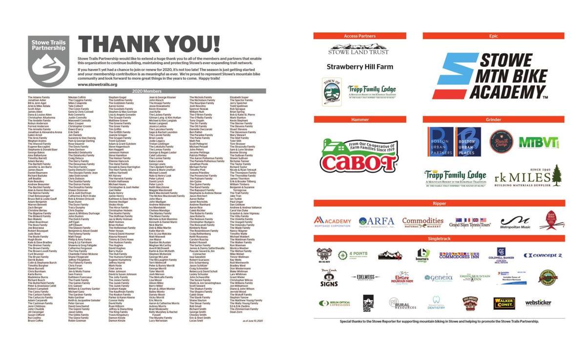 Stowe Trails Partnership Thank You!