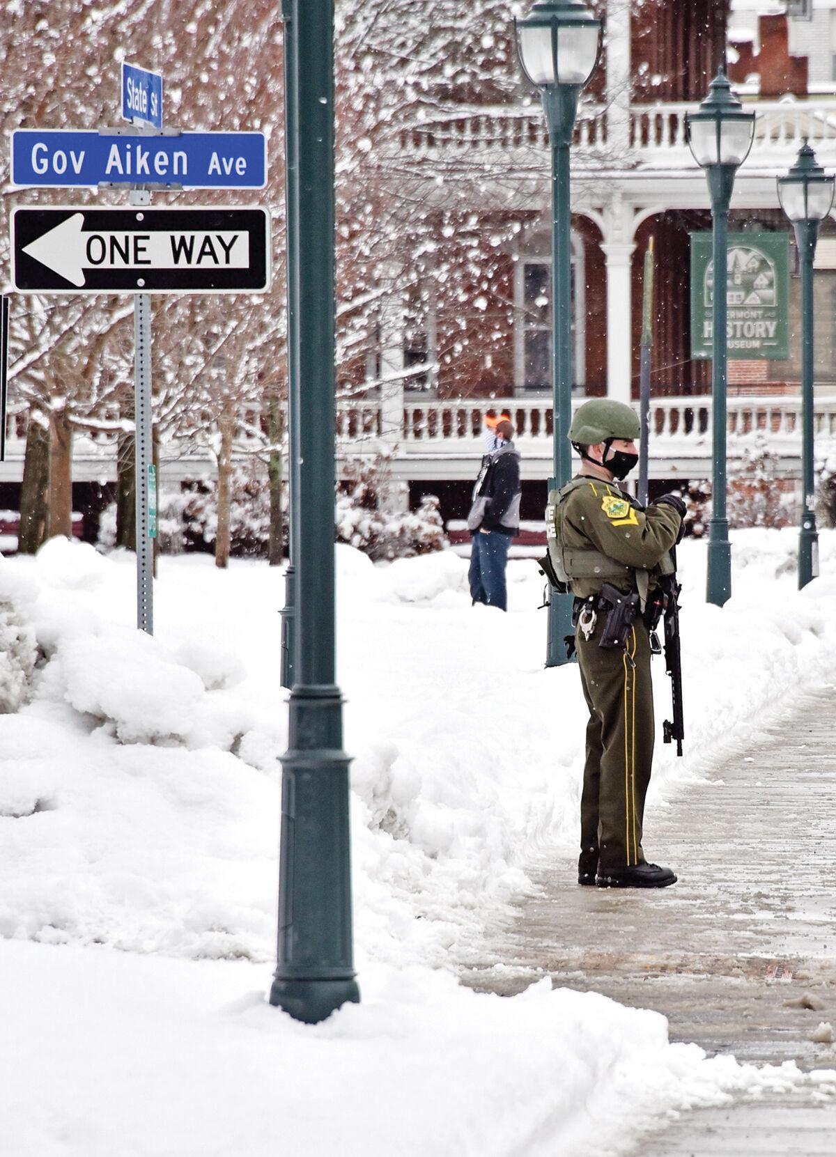 Law enforcement maintains a presence