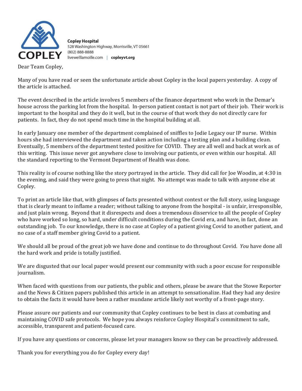 Copley Hospital memo