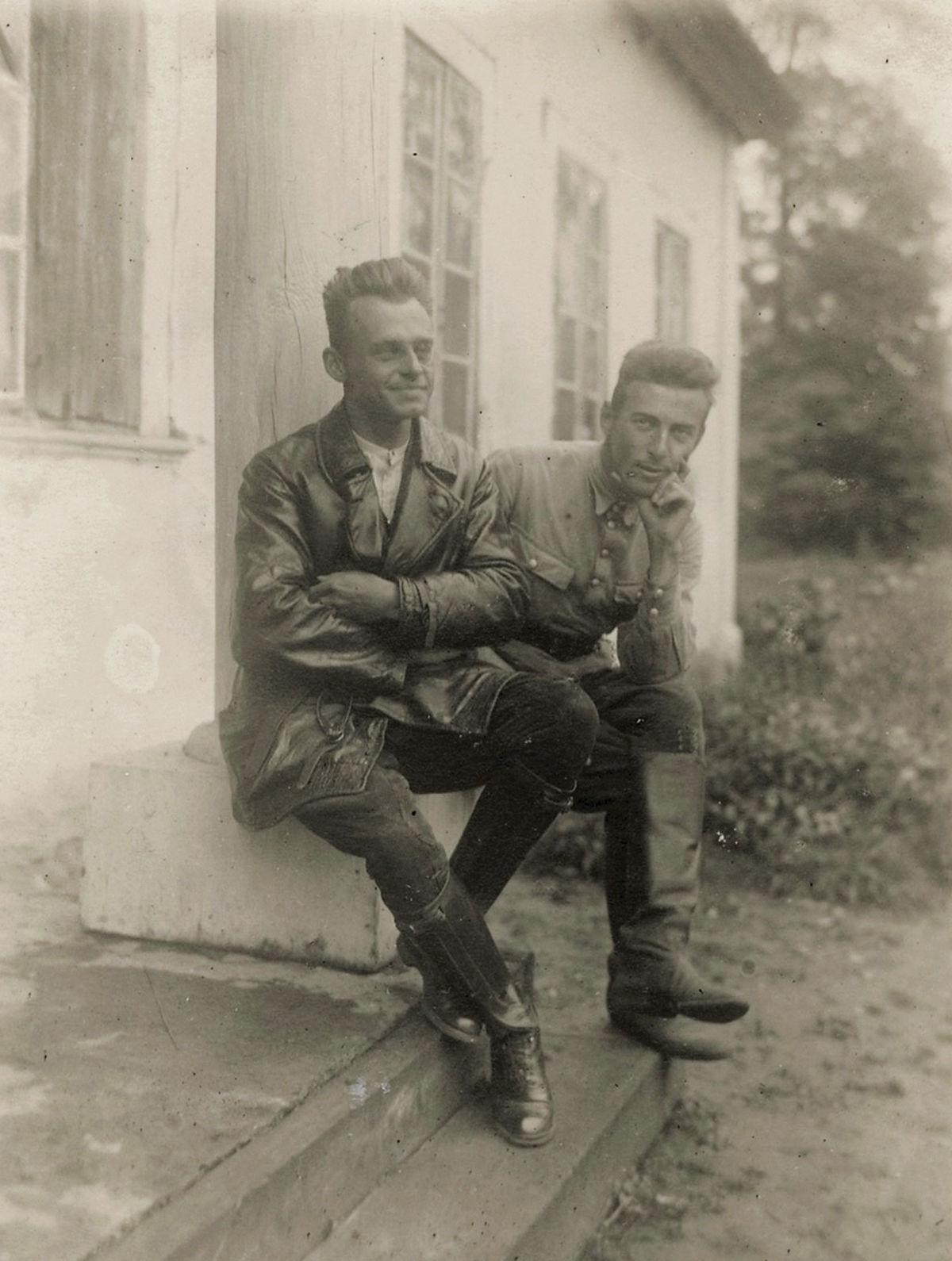 Pilecki, seen with a family friend