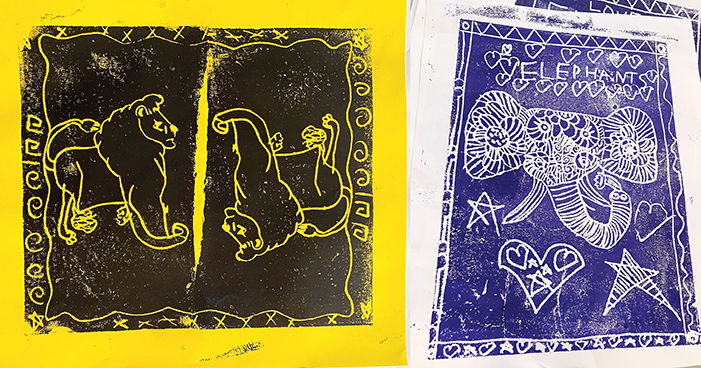 Second graders at Shelburne Community School made prints