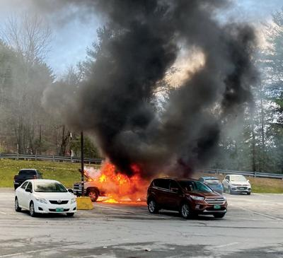 1992 Chevy pickup truck in flames