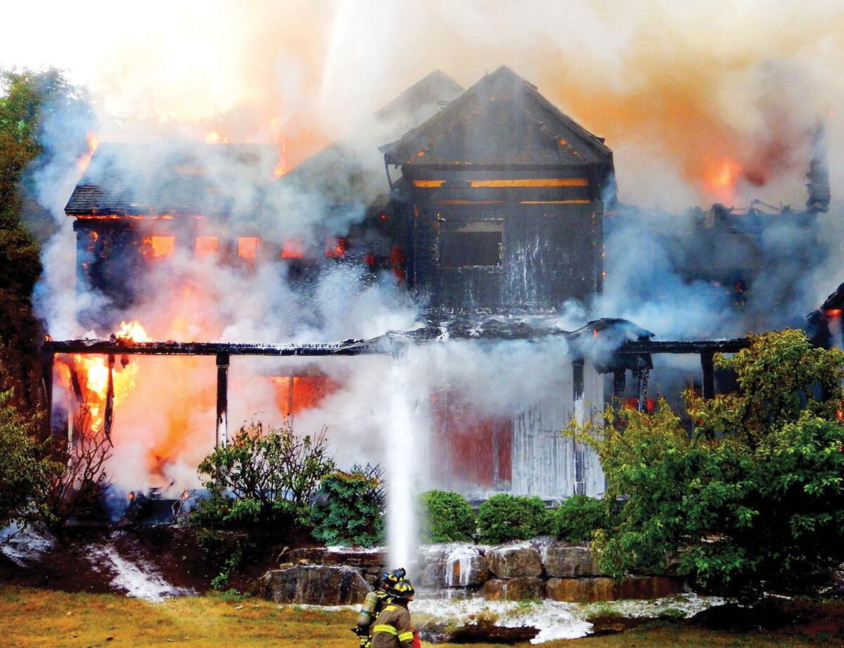 Firefighters battle a blaze on Hawley Road