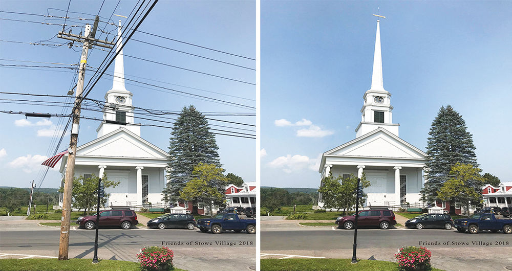Stowe Church before and after