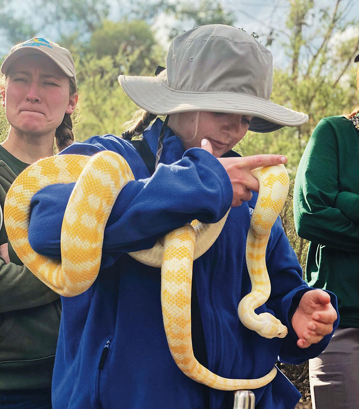Sophie Loughran with snake