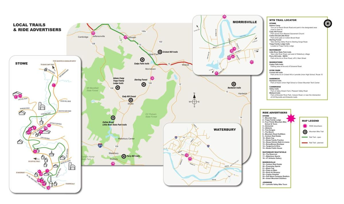 Map of Local Mountain Biking Trails and RIDE Advertisers
