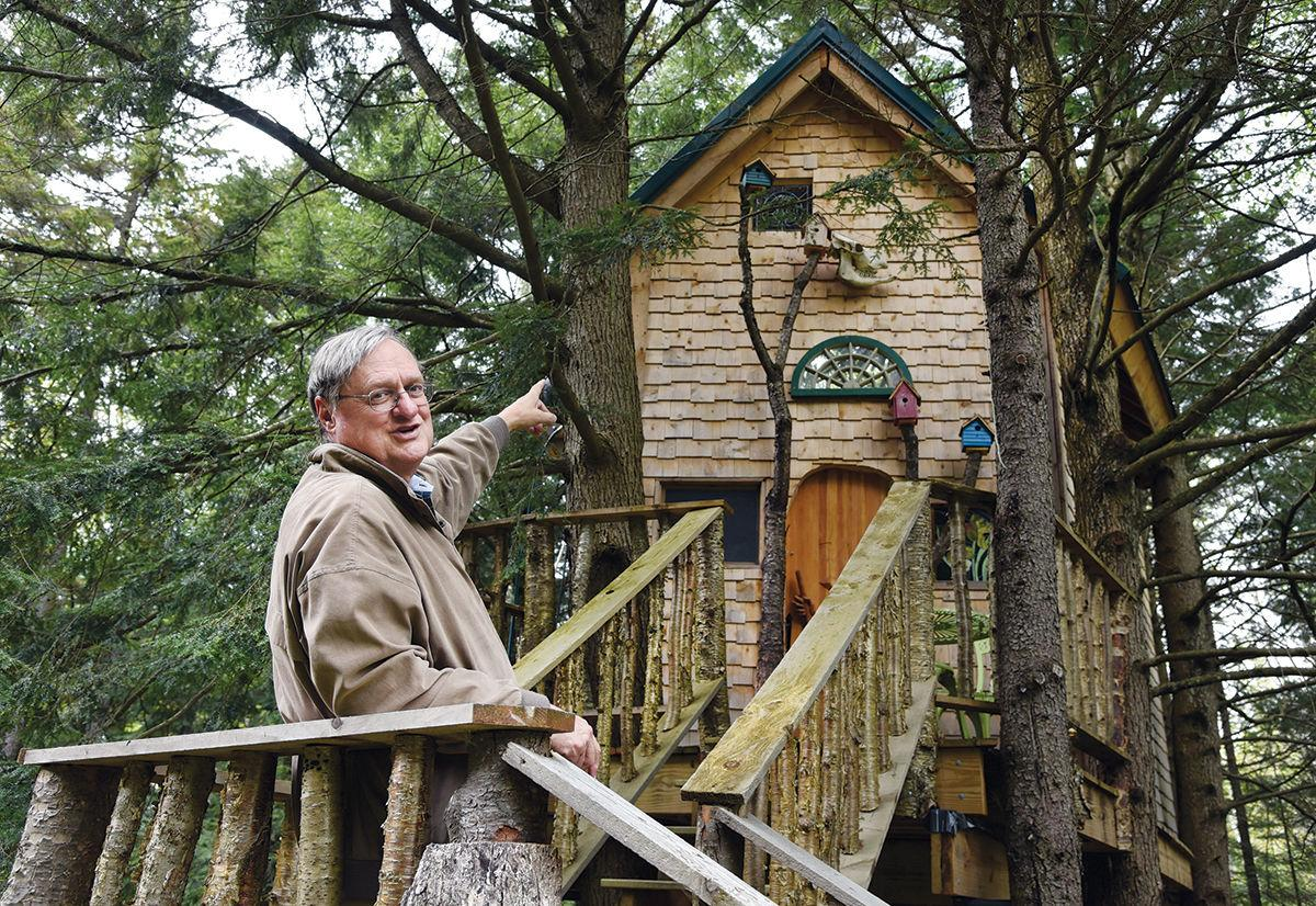 Dr. David Bisbee and treehouse