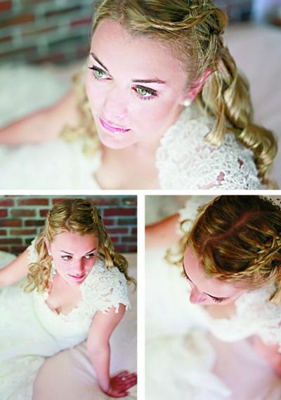Whether brides opt for sleek bangs or a side-swept hair style, an elegant updo is a wedding day classic.