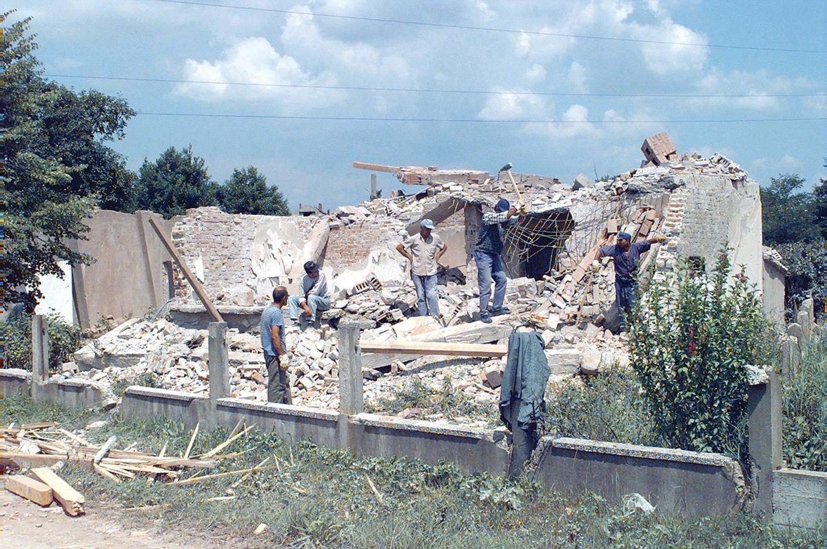 A Muslim home destroyed by Serbian militants during the Bosnian War