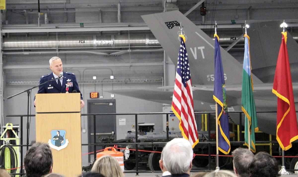 Outgoing Col. David Smith addresses the 158th Fighter Wing