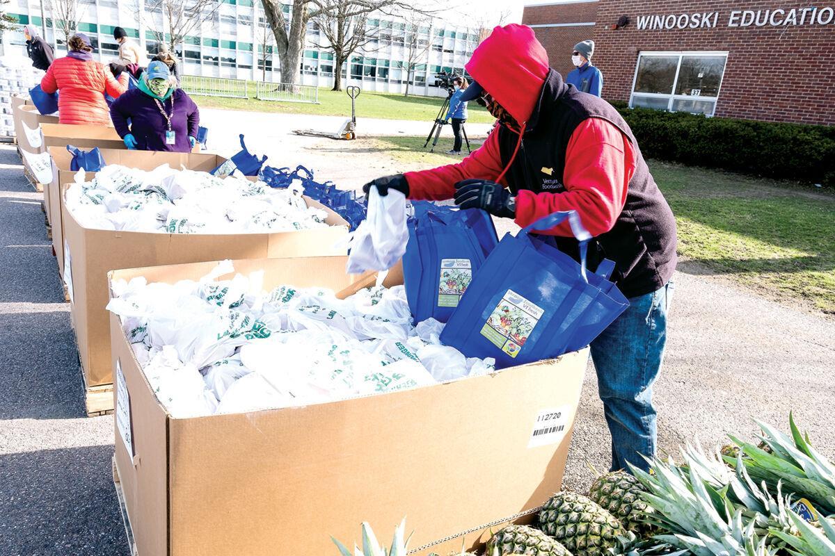 Volunteers and members of the Vermont Foodbank