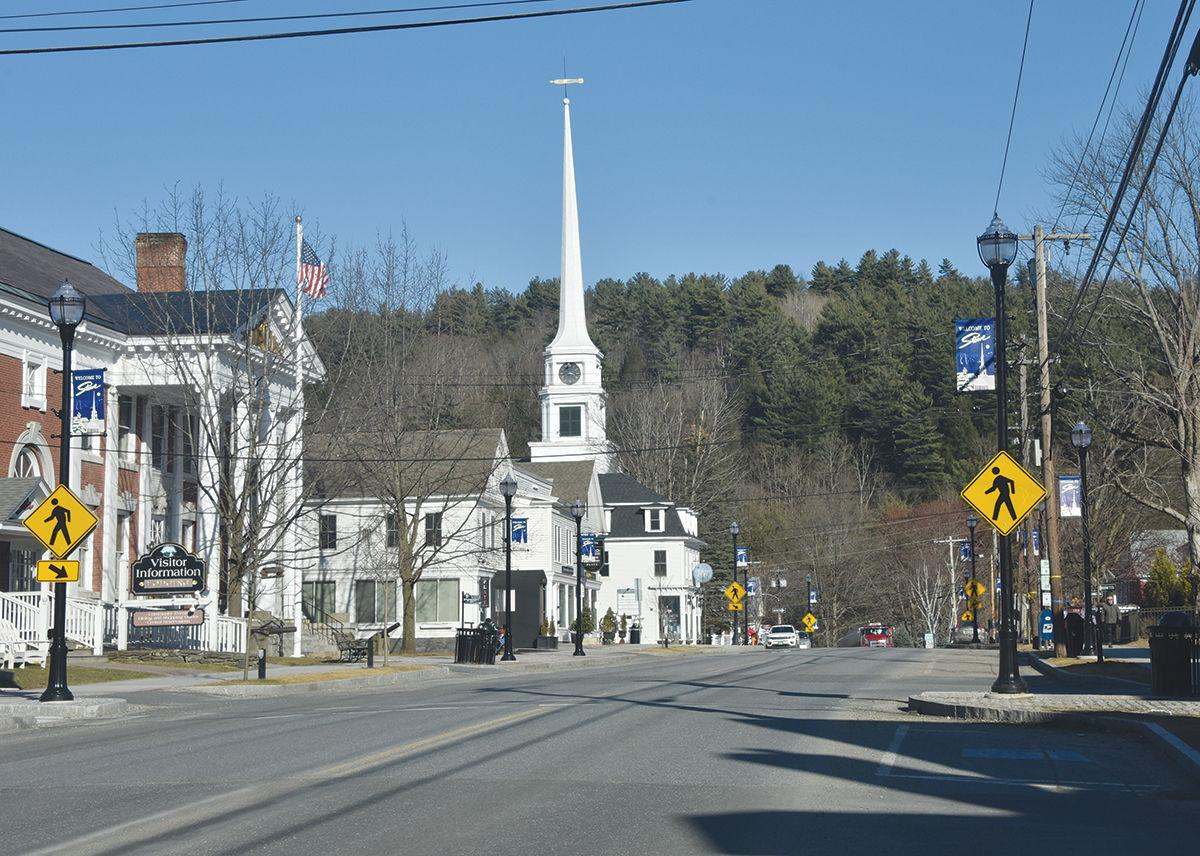 Empty Main Street in Stowe