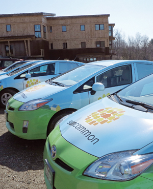 SunCommon energy efficient cars, parked at their new offices.