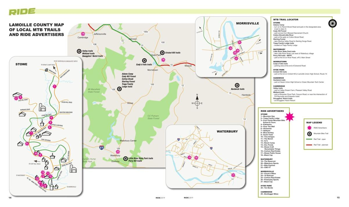 Lamoille County Map of Local Mountain Biking Trails and RIDE Advertisers