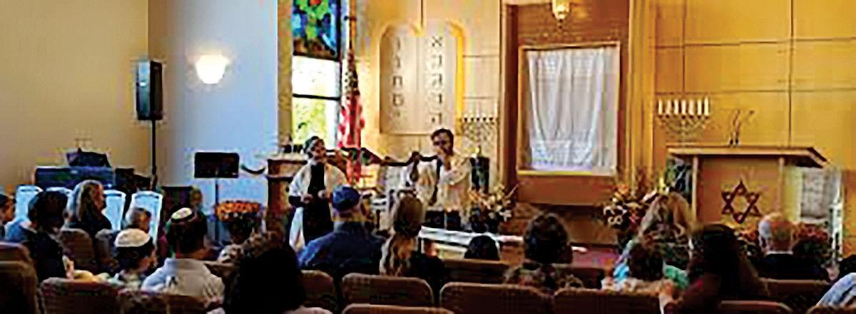 Temple Sinai during a high holiday service for Rosh Hashanah