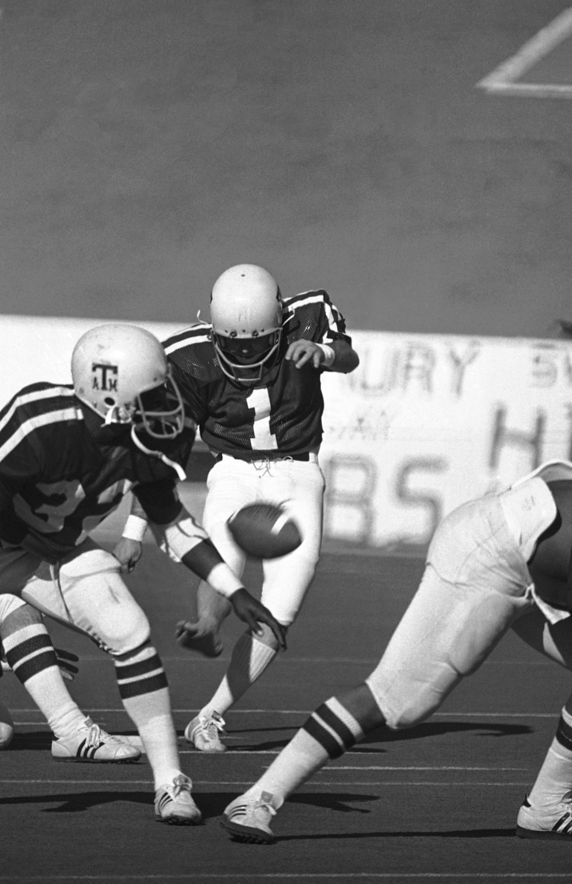 df191d2c8d0 Texas A&M's Tony Franklin lets loose with a 62-yard field goal during a game  against Florida in the Sun Bowl on Jan. 2, 1977 in El Paso.