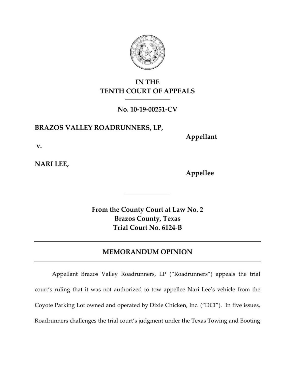 PDF: Brazos Valley Roadrunners vs. Nari Lee opinion