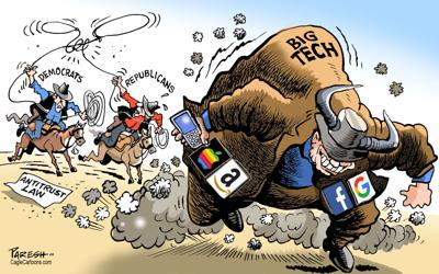 Antitrust cartoon - Big Tech