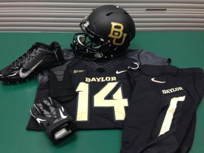 uniform. The Baylor Bears will wear black jerseys and helmets with gold  lettering for Thursday s nationally ... 0dcac9eee