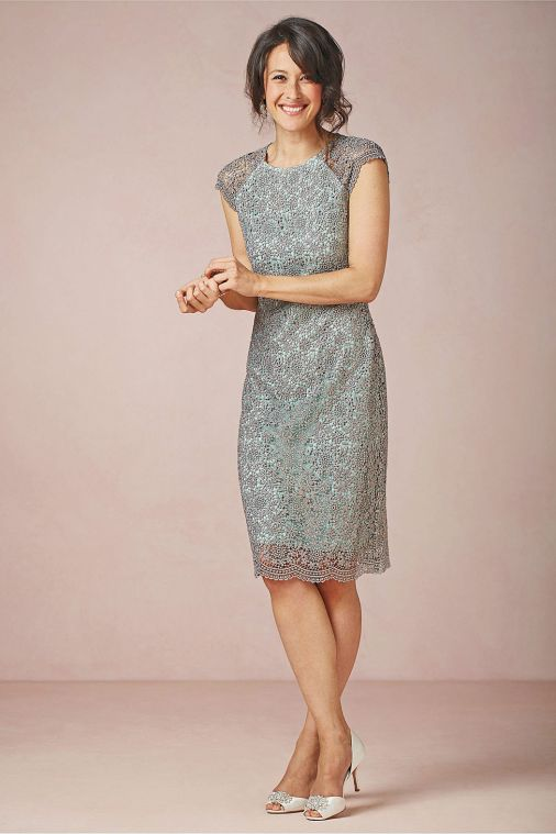 Shined Lace Shift Dress In Teal From Bhldn