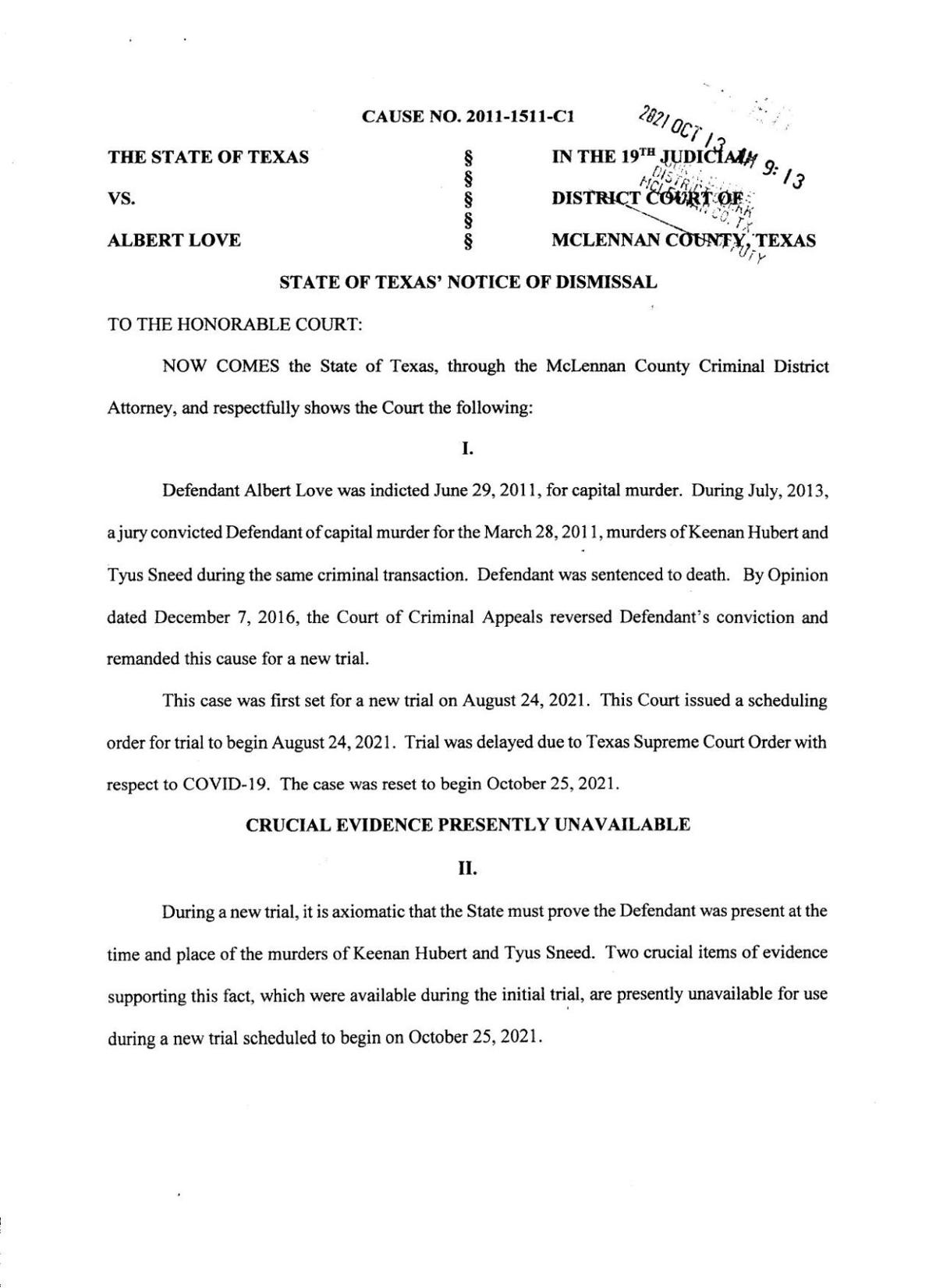 PDF: Albert Love case dismissal (Oct. 13, 2021)