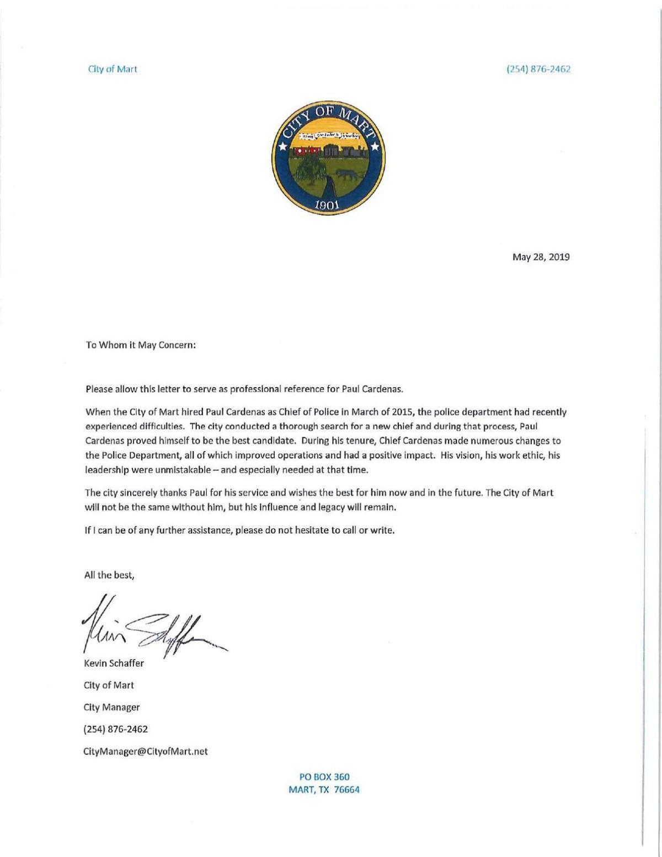 PDF: Mart Police Chief Paul Cardenas separation agreement