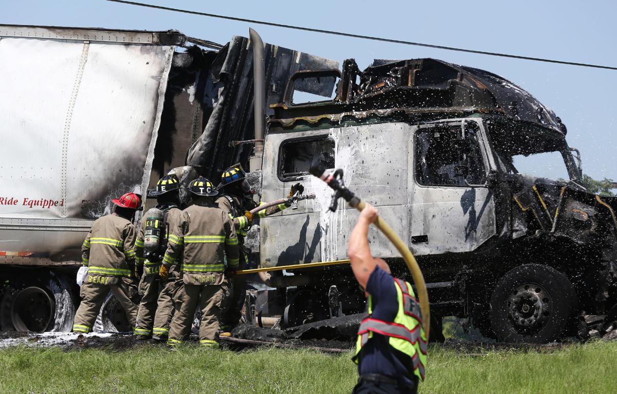 Tractor trailer burns on I-35 near Bellmead