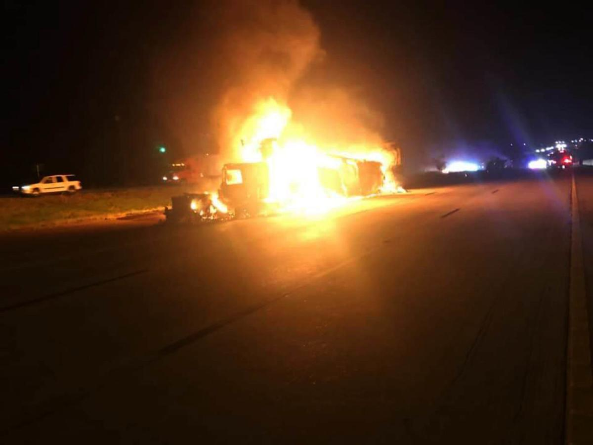 I-35 reopens after fiery two-truck wreck snarls traffic for hours