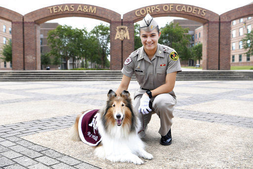 A&M collie Reveille cared for by female mascot corporal