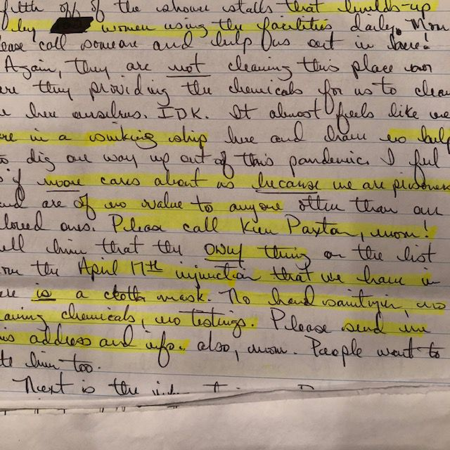 Murray Unit inmate letter