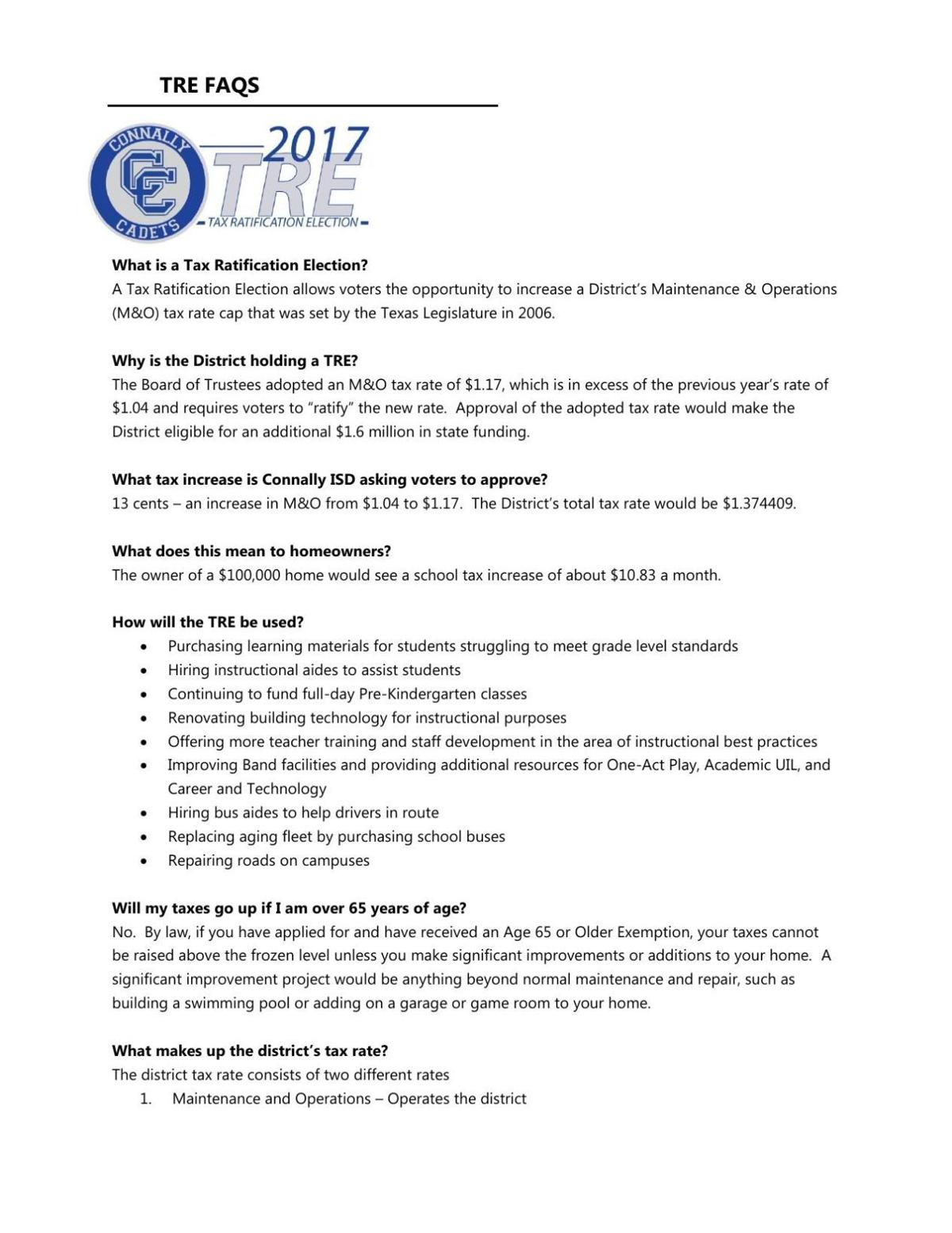 Connally ISD tax ratification election