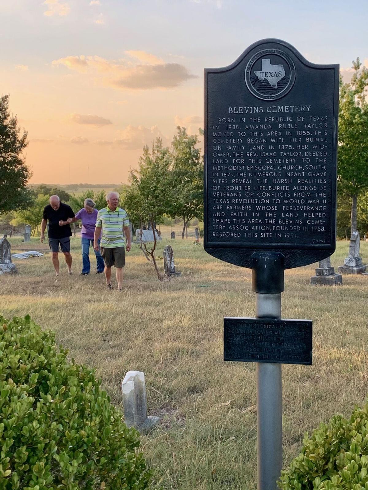 Blake Burleson, Burt Burleson, and Betty Burleson at Blevins Cemetery, August 2020.JPEG