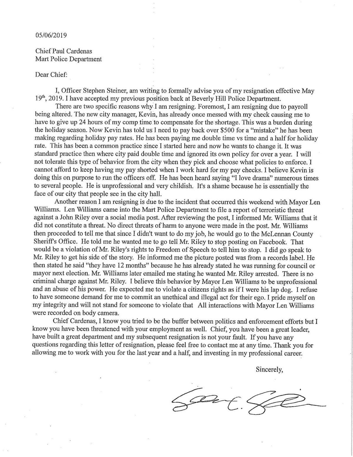Stephen Steiner resignation letter
