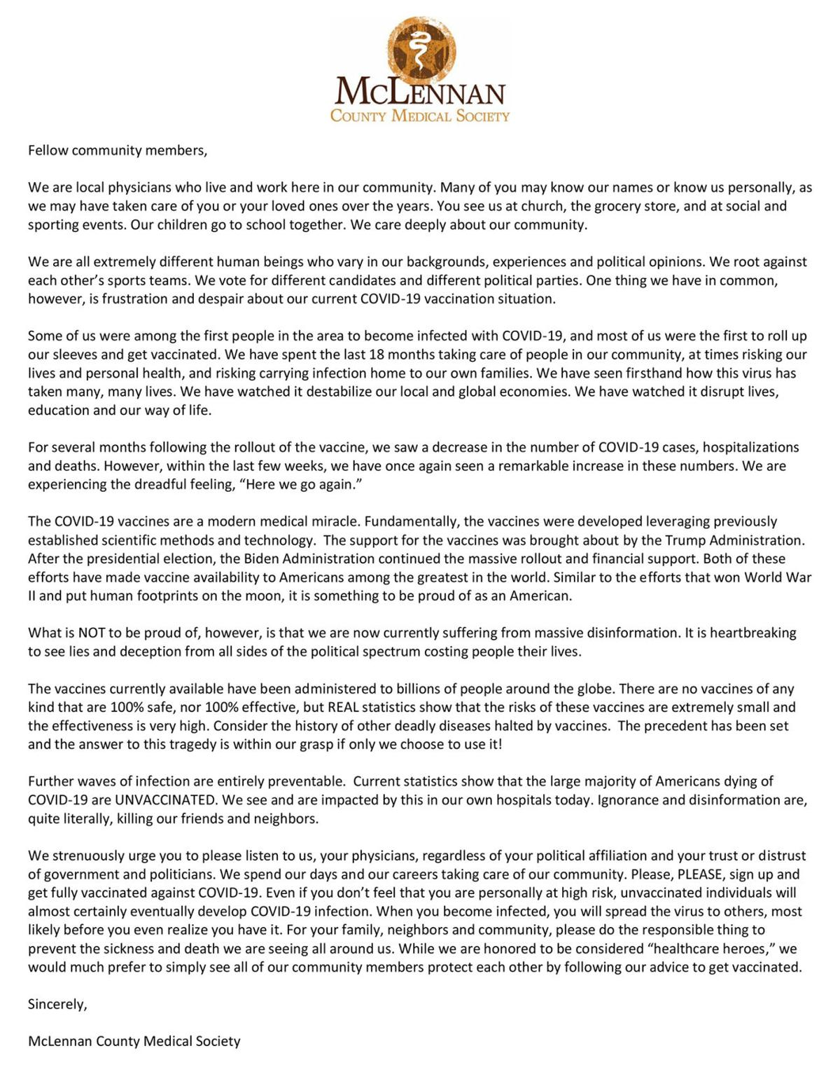 Vaccine support letter from McLennan County Medical Society