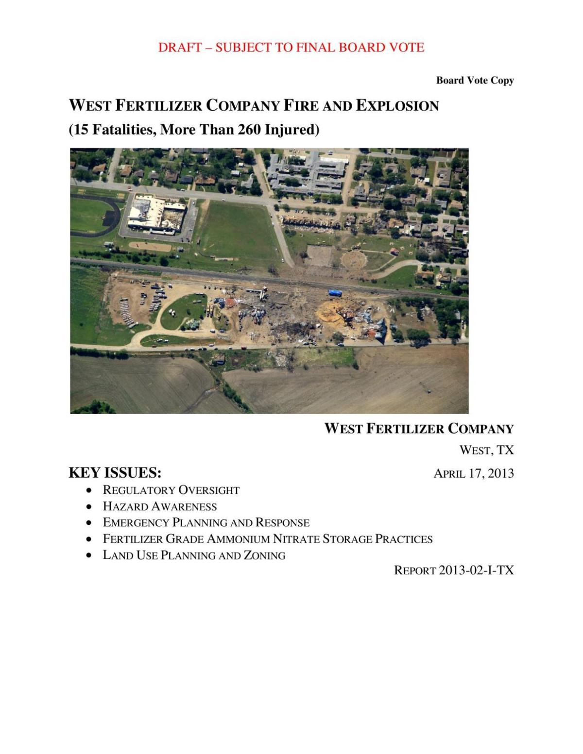 Report: West Fertilizer Fire and Explosion