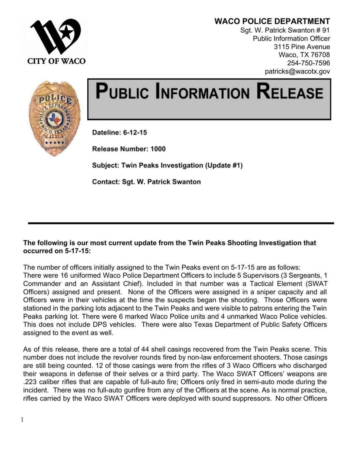 Twin Peaks update press release - June 12, 2015 (PDF)