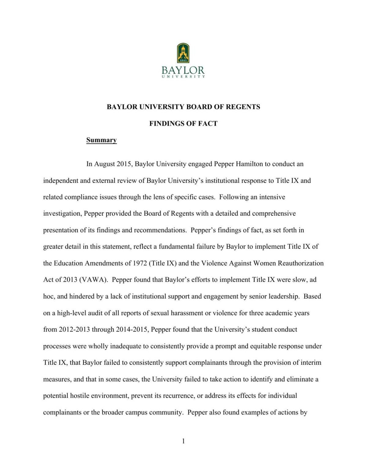 Baylor Board of Regents findings of fact based on Pepper Hamilton report