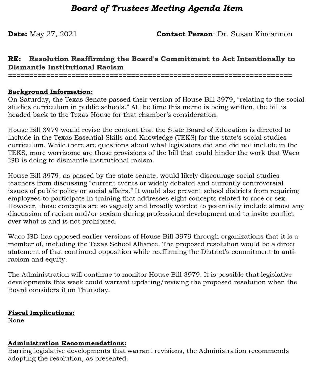 Waco ISD anti-racism recommendation