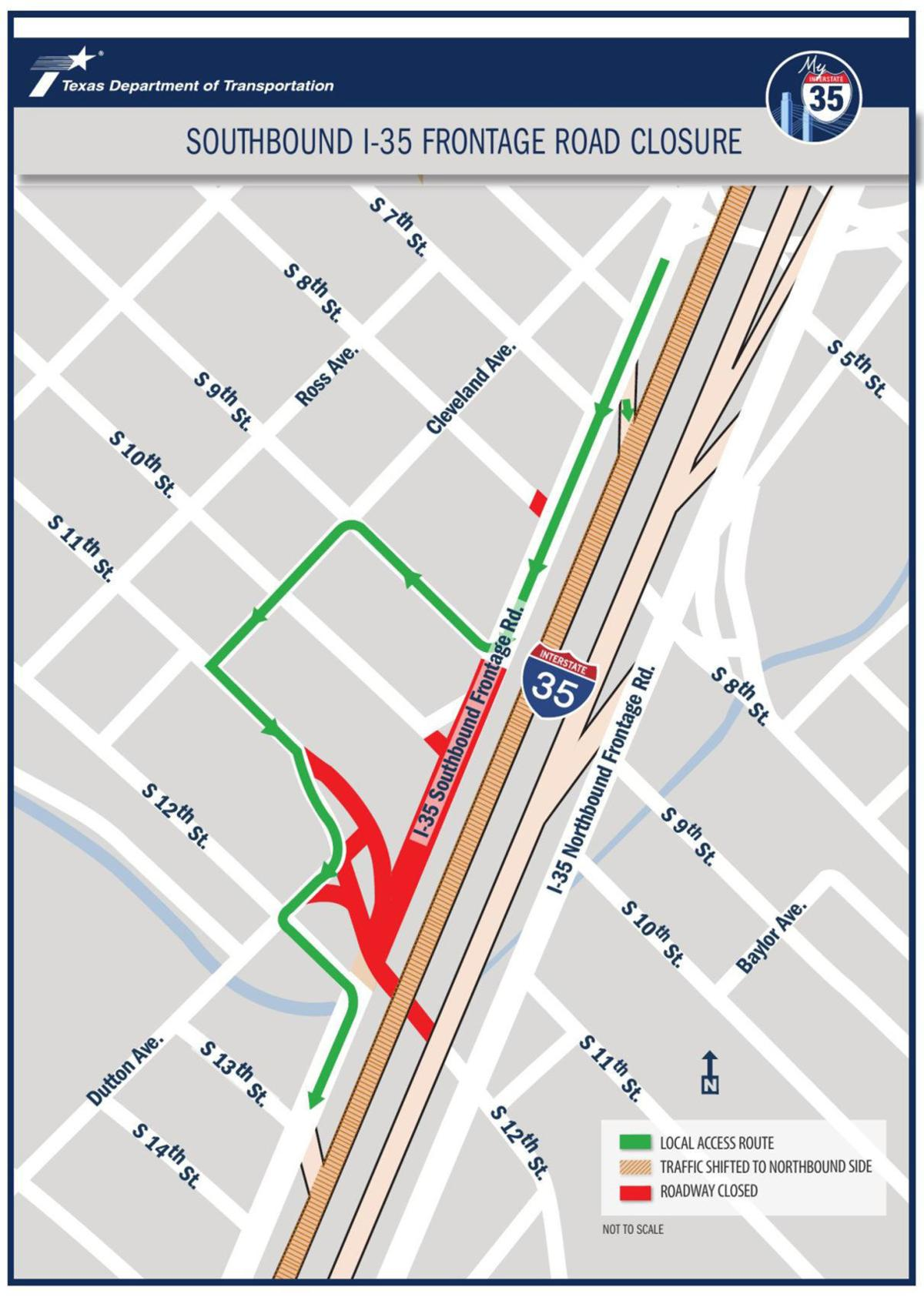 Downtown frontage road closures