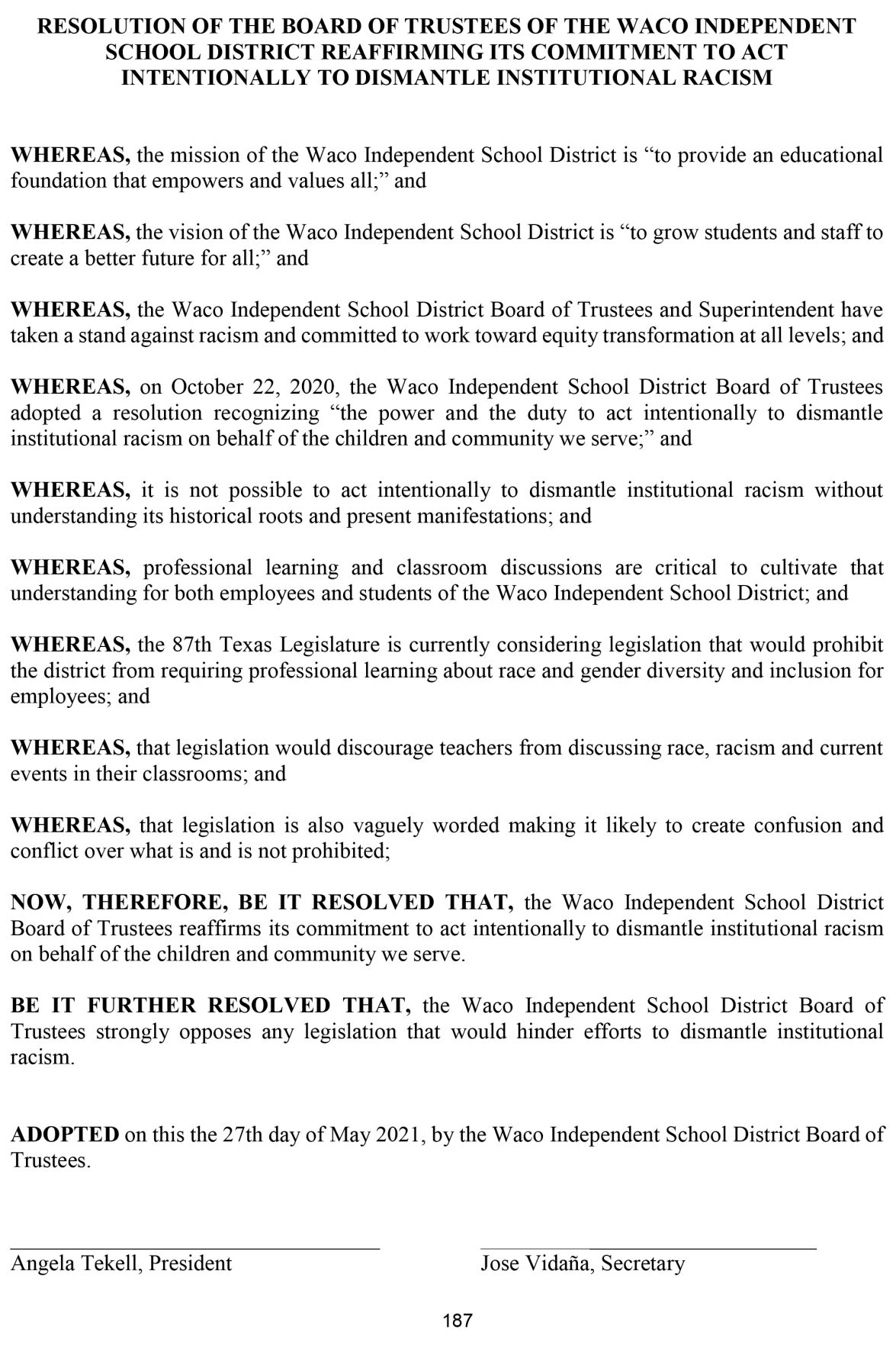 Waco ISD anti-racism resolution