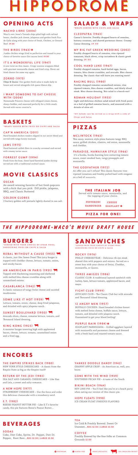 Waco Hippodrome Restaurant Menu